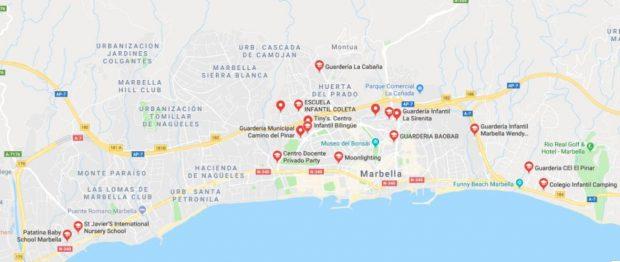 Map of Marbella nursery schools
