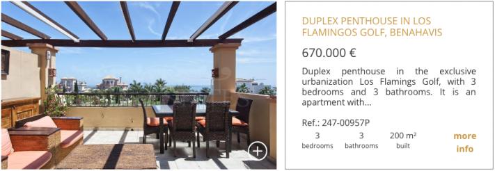 Duplex Penthouse for sale in Los Flamingos Golf, Benahavis