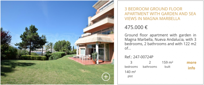 3 bedroom ground floor apartment with garden and sea views in Magna Marbella